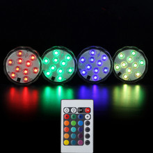 10 LEDs RGB Waterproof Battery Powered Lights with IR Remote Controller for Aquarium, Vase Base,Swimming Pool, Party(China)