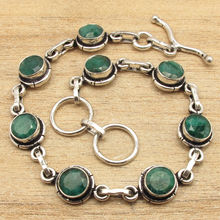 "CHRISTMAS Gift Jewelry ! Green Emeralds Bracelet 7 7/8"" Silver Plated Over Copper"
