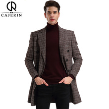 Cajerin Men's Long Trench Coats Fashion Design Single Breasted Windbreaker Slim Male Jacket England Style Casual Overcoat(China)