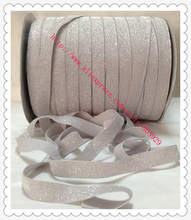 "Stretch Metallic Velvet Ribbon Light Silver Sparkle Ribbon 5/8"" Elastic Frosted Light Silver Glitter Ribbon(China)"