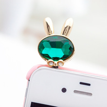 Big Crystal Rabbit Head Design Super flash process3.5mm Mobile Phone Ear Cap Dust Plug For Iphone Samsung dust plug(China)