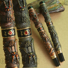 2 PCS JINHAO ANTIQUE BRASS COPPER TWO DRAGON PLAY PEARL ROLLER BALL PEN(China)