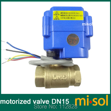 "motorized valve brass, G1/2"" DN15, 2 way, CR05, electrical valve, motorized ball valve(China)"