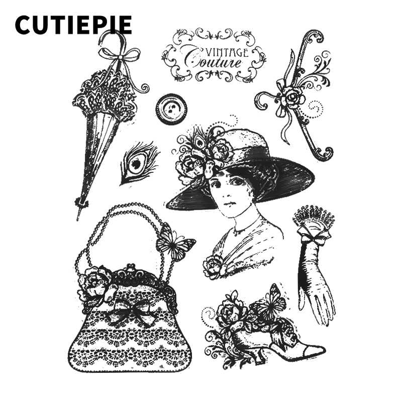 Vintage Lady With Bag Hat Transparent Clear Stamps Stencils for Scrapbooking Seals Embossing DIY Folder Photo Album Decor Crafts