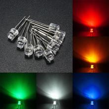 10pcs 3mm/5mm Flat Top Water Clear LED Emitting Diodes Light Assortment Lamp DIY 5 Color White Yellow Red Blue Green