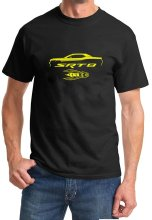 Hipster Cool O Neck Tops Dodge Challenger Yellow Jacket Srt8 Classic Outline Design Tshirt