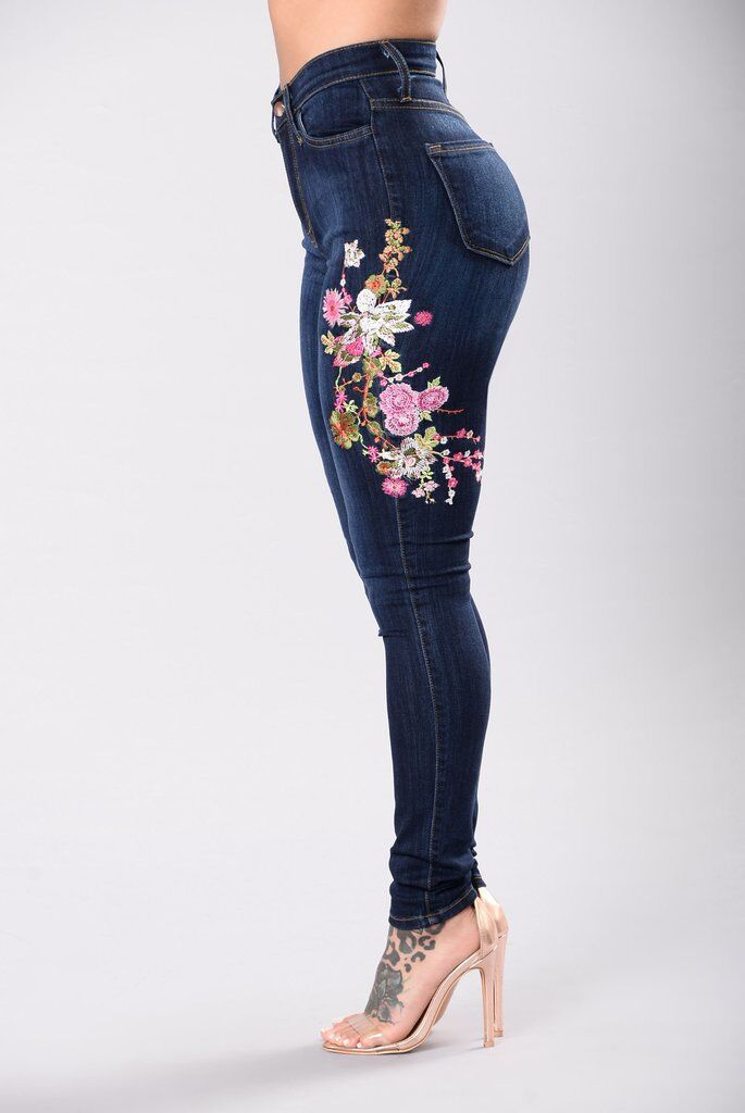 Hot Style Women Jeans Floral Embroidery Skinny Denim Long Pants Slim Fit Stretchy Skinny BuPust Up Ladies High-Waist Jeans (2)