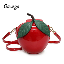 2017 New Creative Fashion Women Crossbody Bag 3D Red Circular Apple Bag Female Messenger Bags Mini Organizer Bags for Youth Girl(China)