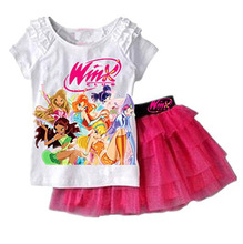 Baby Girls Outfits Girl Winx Club Short Sleeve Top With TuTu Lace Skirts Summer Kids Suit Clothing Sets