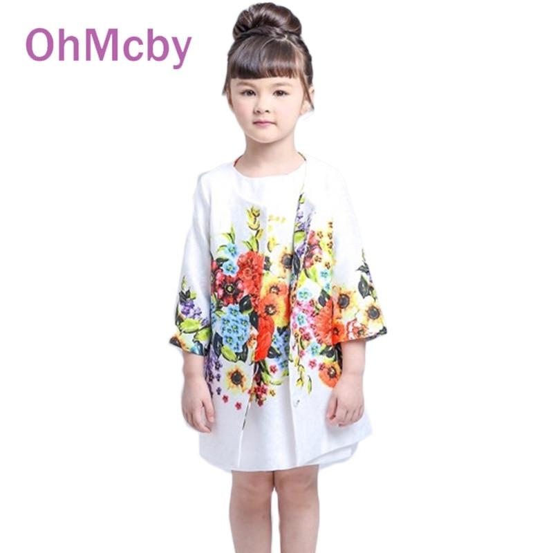 New Children Clothing Set Kids Floral Print Girl Clothes Sets Brand Floral Dobby Kids Tracksuit(Jacket+Dress) Girls Clothing<br><br>Aliexpress