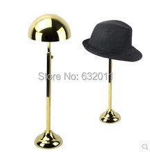 Titanium gold retro stainless Metal Hat display stand hat display rack hat holder cap display hat holder rack