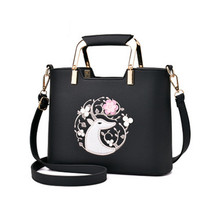 Fashion ladies new lychee leather handbag retro embroidery flowers pattern shoulder bag unicorn packs 3D bag quality hardware(China)