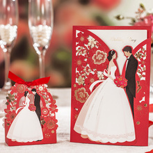 Red Laser Cut Wedding Invitations 50pcs Wishmade Luxurious