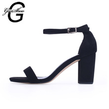 GENSHUO 2018 Ankle Strap Heels Women Sandals Summer Shoes Women Open Toe Chunky High Heels Party Dress Sandals Big Size 42(China)