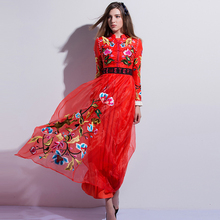 Fashion New Dresses 2017 European Black / Red Flowers Embroidery Early Spring Long Sleeve Topshop Beading Women Dress