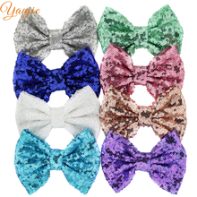 "DHL 150pcs/lot 5"" Sequin Bow Solid Knot Gold/Silver Hair Bow Without Clips For Girls And Kids DIY Headbands Hair Accessories"