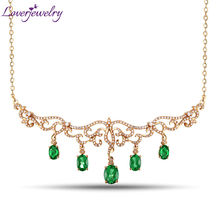 Hot Luxury Design Solid 18Kt Yellow Gold Natural Green Emerald Pendant Necklace Diamond Gemstone Jewelry For Women