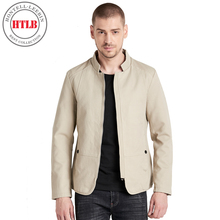 HTLB 2018 New Brand-Clothing Spring Men Solid Casual Jacket Coat Men Fashion Washed 100% Cotton Madarin Collar Jackets Coat Men(China)