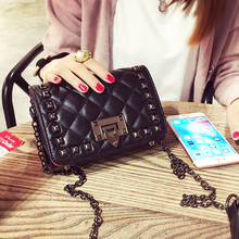 2017 good PU leather higher quality new Mini Bag retro rivet rhombus chain bag diagonal small portable shoulder bags 587