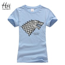HanHent Women's Game of Thrones Stark T-shirt Femmes Animals Printed Woman T shirt Fashion Wolf Tee Shirt Women Couple Clothes(China)