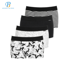 PINK HEROES 4Pcs / Lot Men Underwear Boxers Cotton Print Black White Gray Men Boxer Underwear Sexy Comfort Men Shorts Panties(China)