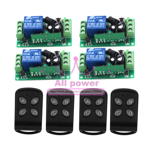 DIY!New Free Shipping DC 12V 10A 1CH Learning Code RF Wireless Remote Control Switch Systems 4 Receivers 4 controllers<br>