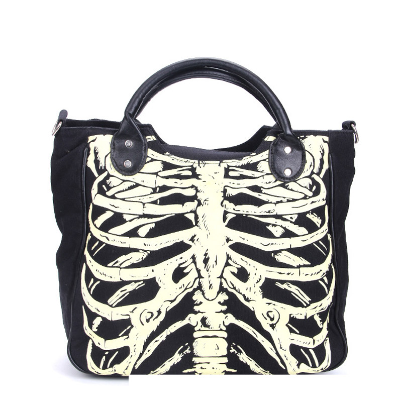 Women Girl Lady Skeleton Bones Bats Skulls Eyeballs Ribcage Gothic Shoulder Bag Handbag Horror Emo<br>