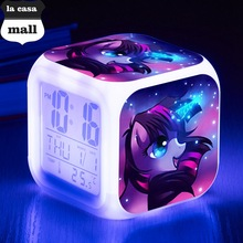 Twilight Sparkle Digital Clocks LED 7 Color Flash alarm clock Purple Horse reloj despertador de cabeceira Watch relogio de mesa(China)