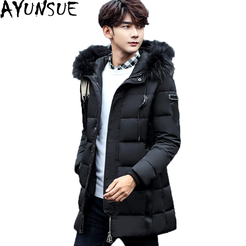 Plus Size 3XL Warm Hooded Men's Winter Down Jackets Real Raccoon Fur Collar Duck Down Coats Thick Casual Male Outwear ST262