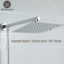 "Free Shipping Chrome Finished Wall Mounted Brass Shower Arm + Ultrathin Square 8"" Shower Head + 150cm Srainless Steel Hose"
