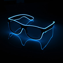 Standrad Flaring Glasses Bar Party Fluorescent Dance DJ Bright Glasses EL Wire Neon LED Light Glow Atmosphere Activing Props(China)