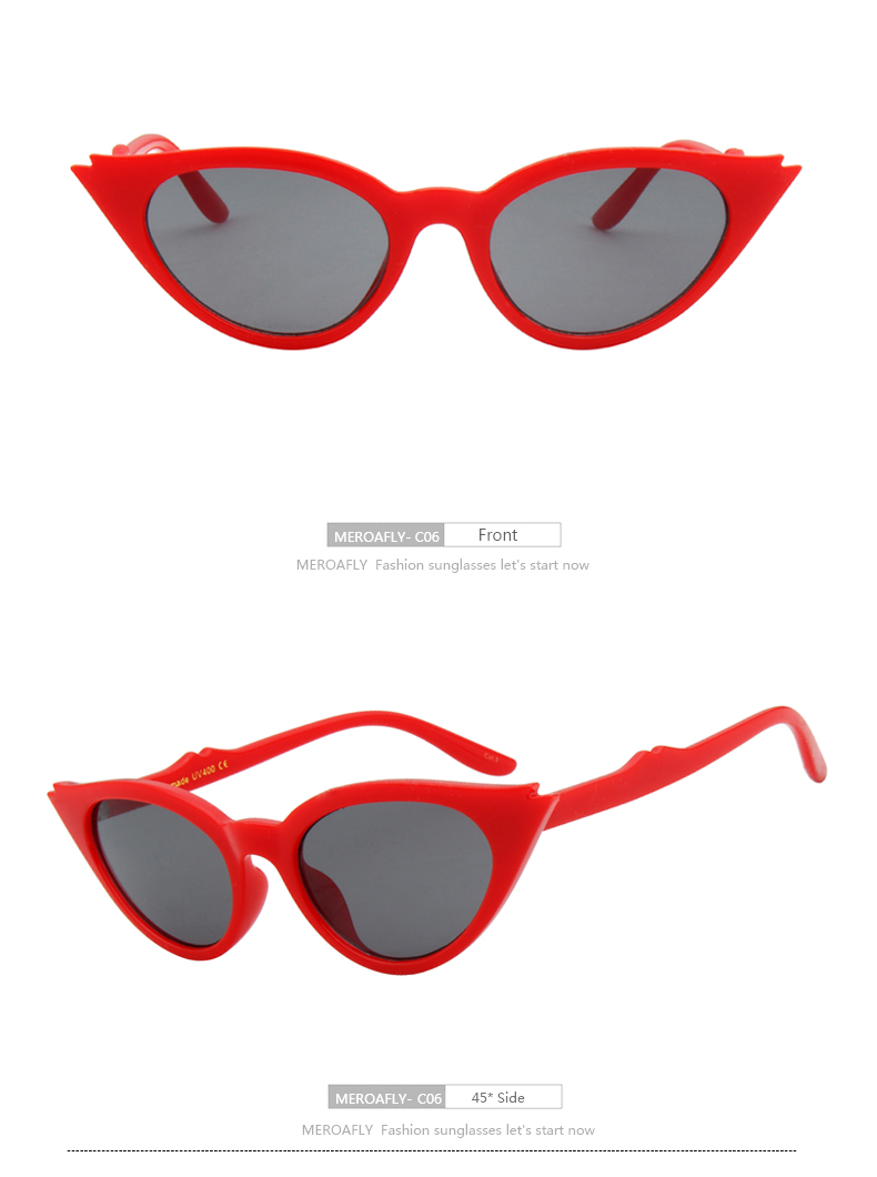 MEROAFLY 2018 Women Cat Eye Sunglasses Red Frame Women Brand Designer Ladies Sun glasses Vintage Sexy Eyewear Shades UV400