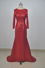 Custom made service real picture scoop neckline low back long sleeves red sequin evening dress
