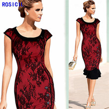 ROSICIL New 2017 Womens Vintage Elegant Formal Lace Button Patchwork Tunic Wear To Work Party Mermaid Pencil Wiggle Bodycon Dres(China)