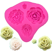 Free shipping 4 pink rose shape cooking tools Christmas decoration silicone mold fondant DIY wedding cake decoration F0116