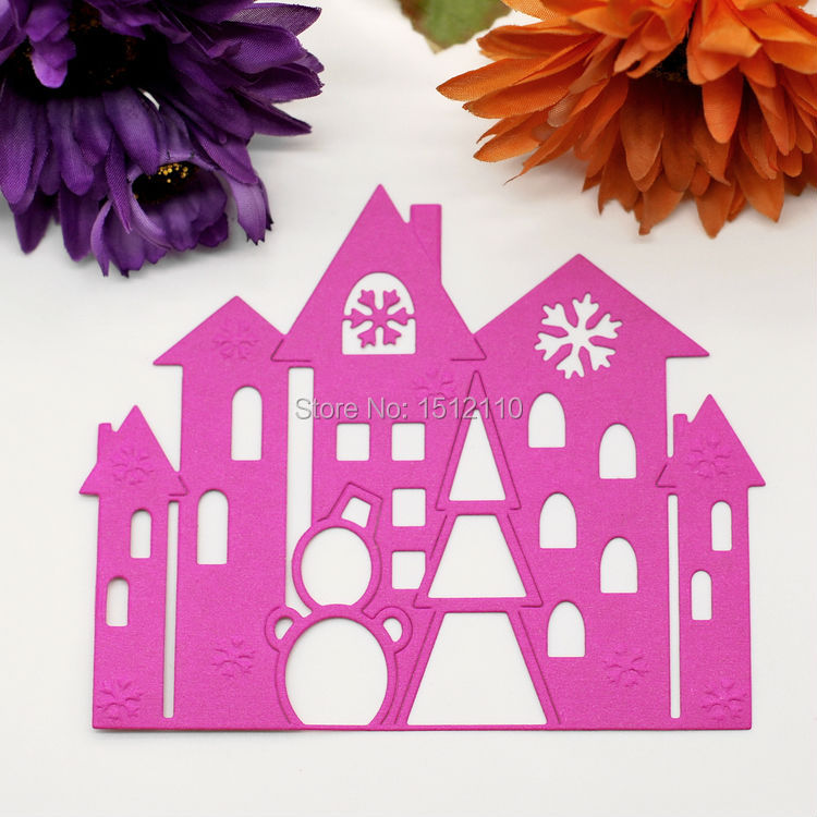 Christmas House Tree Church Metal Die cutting Dies For DIY Scrapbooking Photo Album Decorative Embossing Folder Stencil KW672249(China)