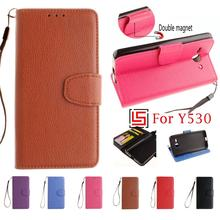 PU Leather Lether Flip Book Filp Wallet Walet Phone Cell Mobile Case fundas Cover For Huawei Ascend Y530 Y530-U00 Brown Rose