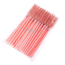 BLUEFRAG Eyelash Brush One-Off Disposable Synthetic Fiber Mascara Applicator Wand Brush Pink Rose Red Black 7 Colors 50 Pcs(China)