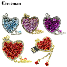Civetman Diamond crystal heart USB Flash drive Love heart Necklace Memory Stick Pen Drive pendrive 4GB/8GB/16GB/32GB/64GB/128GB(China)