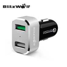 BlitzWolf BW-C6 30W Quick Charge QC2.0 Certified Two Port USB Phone Car Charger For Samsung For iPhone Smartphone(China)