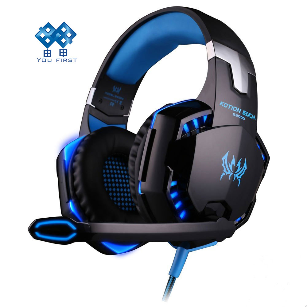 YOU FIRST G2000 Deep Bass Game Headphone Stereo Surrounded Over-Ear Gaming Headset Headband Earphone with Light for PC Gamer <br>