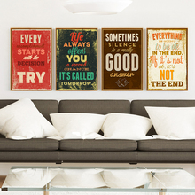 Vintage English Phrase Inspirational Poster Image Art Canvas Print life Motto Inspirational Modern Home Living Room Bedroom Deco