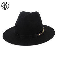 Marca FS lana Fedora negro mujeres invierno Iglesia sombreros Caballero  padrino superior Jazz ala ancha sombreros de fieltro Cap. 49d37ecd5fd