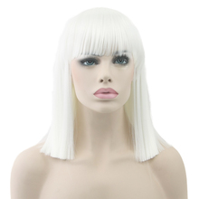 Soowee Short Straight White Wig High Temperature Fiber Synthetic Hair Black Gray Women Party Hairpiece Cosplay Wigs(China)