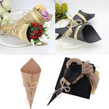 50 Pieces Kraft Paper Cones Bouquet Candy Boxes Wedding Party Gifts Brown/Black