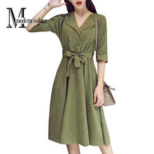 Everyday Casual Dresses Women Autumn 2017 New Arrival Suede Midi Dresses For Women Korean Fashion Blue Green Dress Long Sleeve(China)
