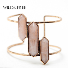 Bohemian Style Wide Open Cuff Bangles For Women Vintage Antique Gold Pink Blue Green Resin Bullet Shape Setting Charm Bangles(China)