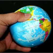 1pcs Cute Kids Geography World Map Anti-Stress Bouncy Ball Phone Straps(China)