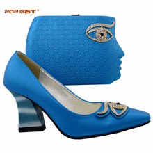 Baby blue nice face bag high heel shoes novelty design for female Italian shoes and bags matching set deliveried by DHL free(China)