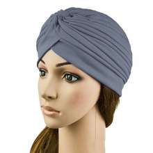 15 Colors  Indian Cap Pleated Headwrap Turban Stretchy Band Hats for Women Cloche Chemo Hijab Beanies S1